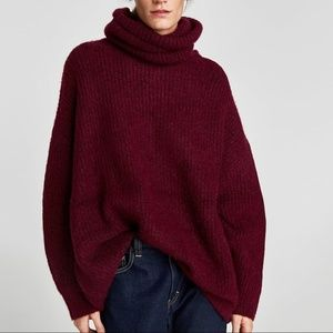 Zara Oversized Roll Neck Chunky Sweater Burgundy m